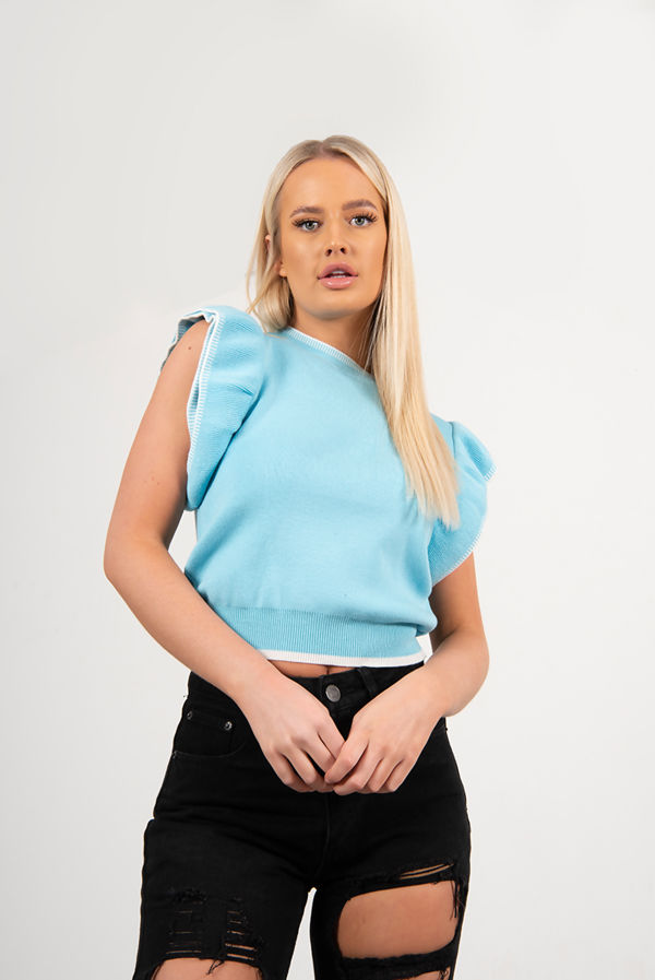 Blue Ruffle Sleeve Knitted Top