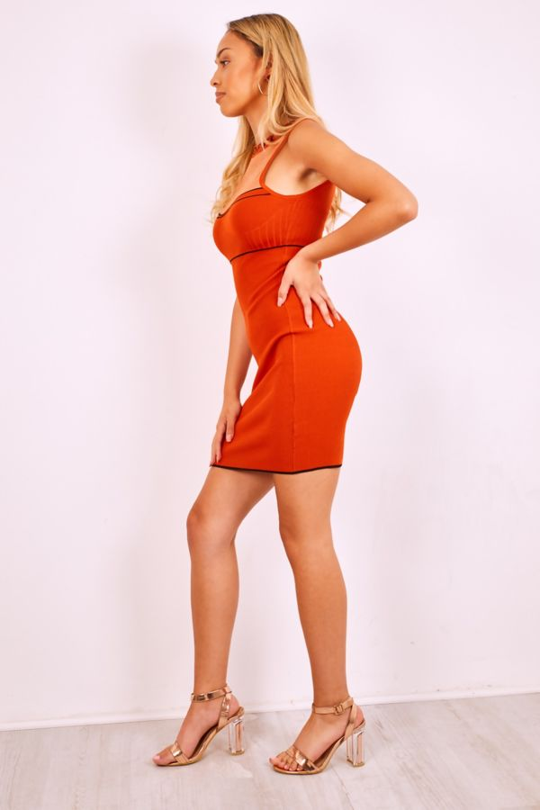 Rust Glitter Mesh Chest Bandage Dress