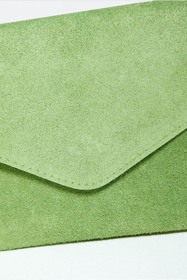 Sage Green Suede Envelope Clutch Bag