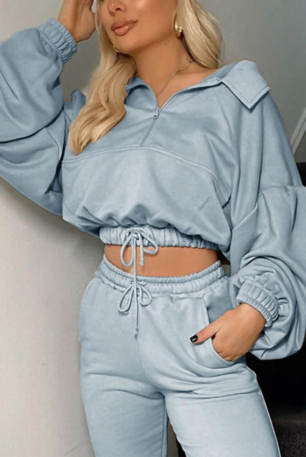 Sage Half Zip Balloon Sleeve Loopback Sweatshirt