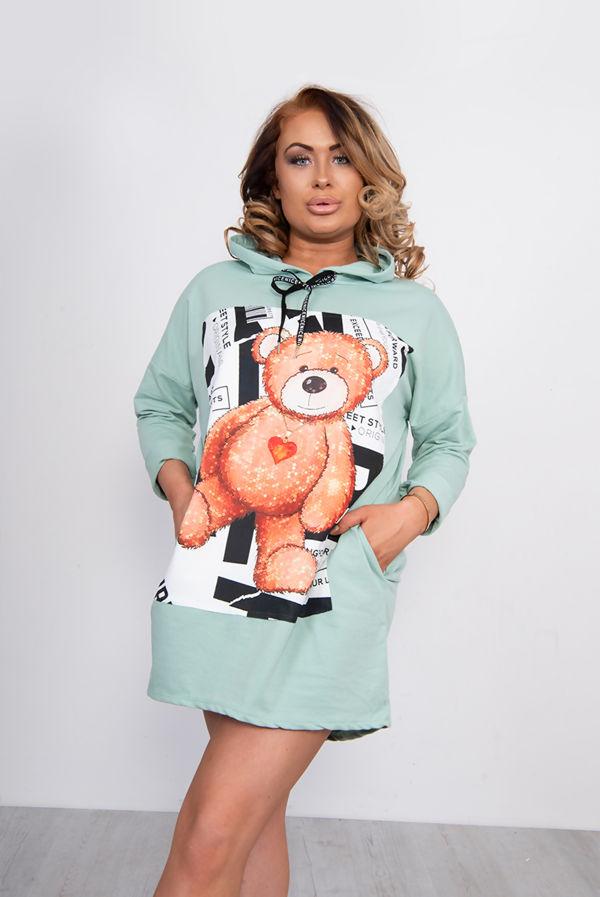 Sage Teddy Bear Hooded Pocket Sweat Dress