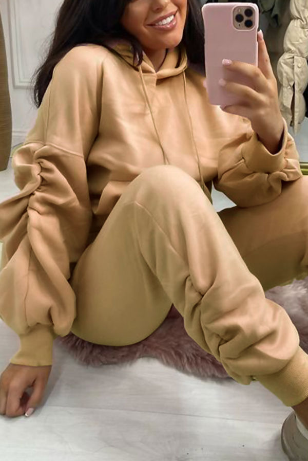 Sand Ruched Hoodie And Jogger Set