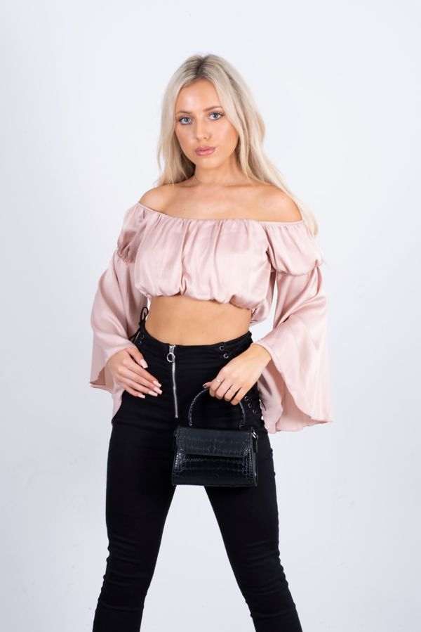 Satin Bardot Ruched Crop Top