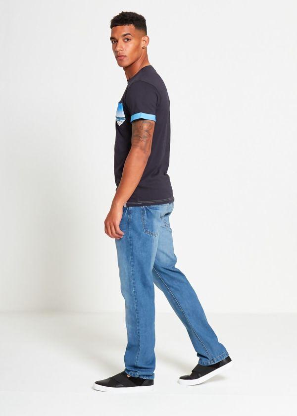 Sea Blue Pocket Print T-Shirt