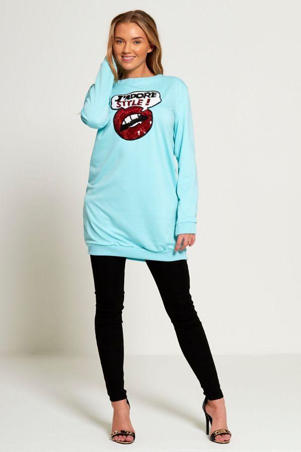 Sequin Black JAdore Style Longline Sweatshirt