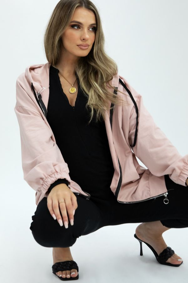 Sequin Crown Back Zipped Oversized Hoodie
