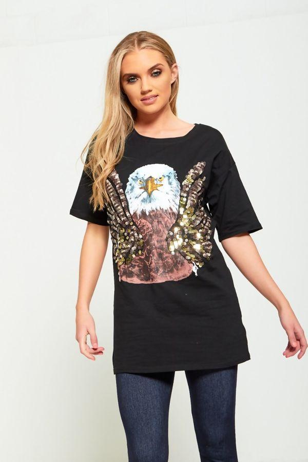 Sequin Owl Longline T-Top