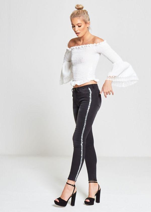 Sequin Stripe Black Skinny Jeans