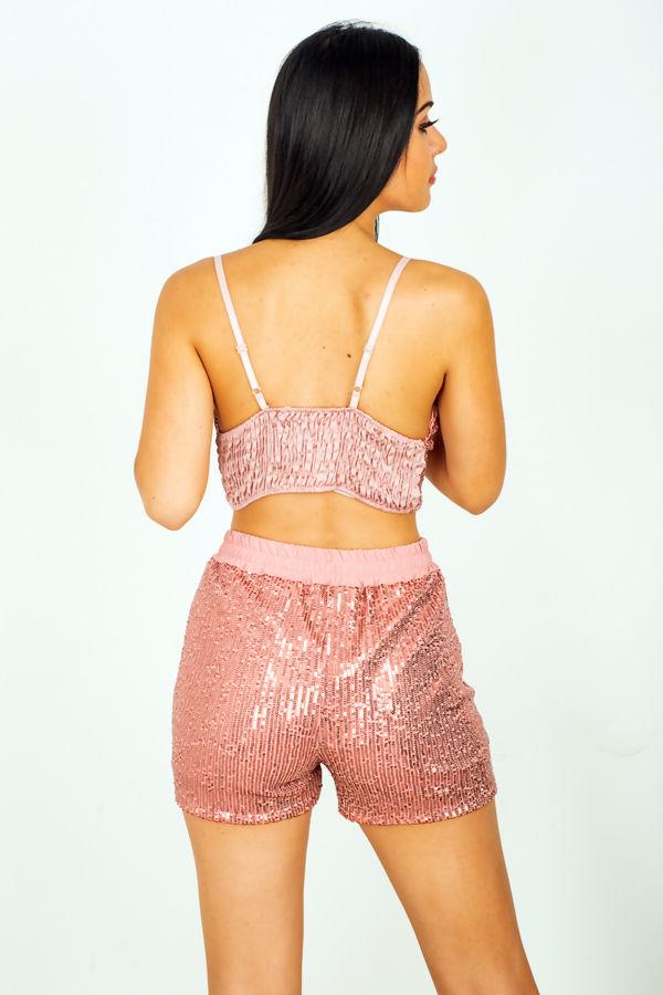 Sequinned High Waist Shorts