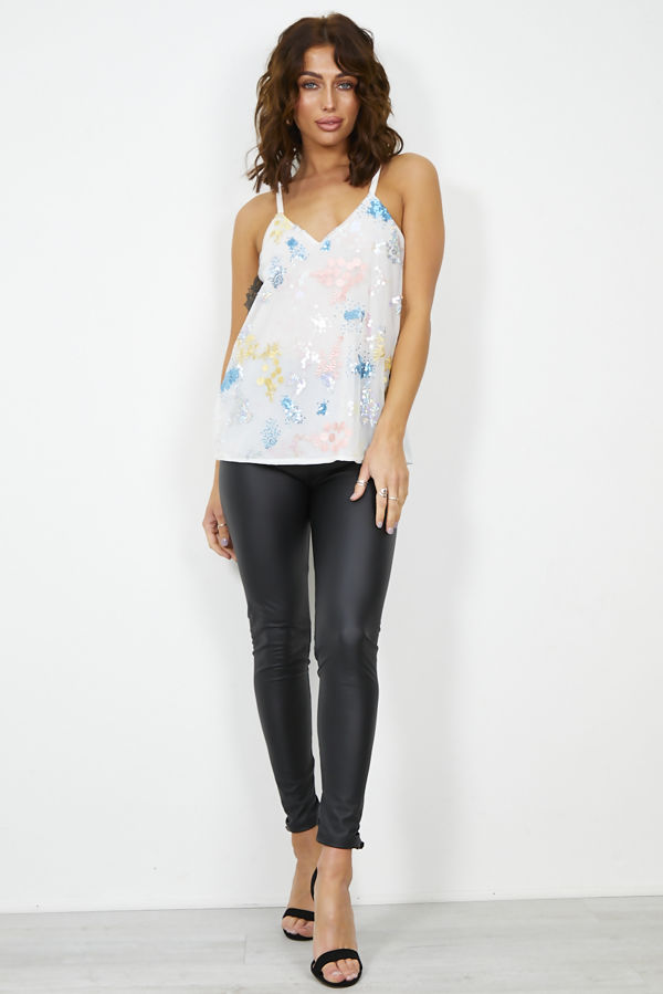 Sequinned Mesh Overlay Cami Top