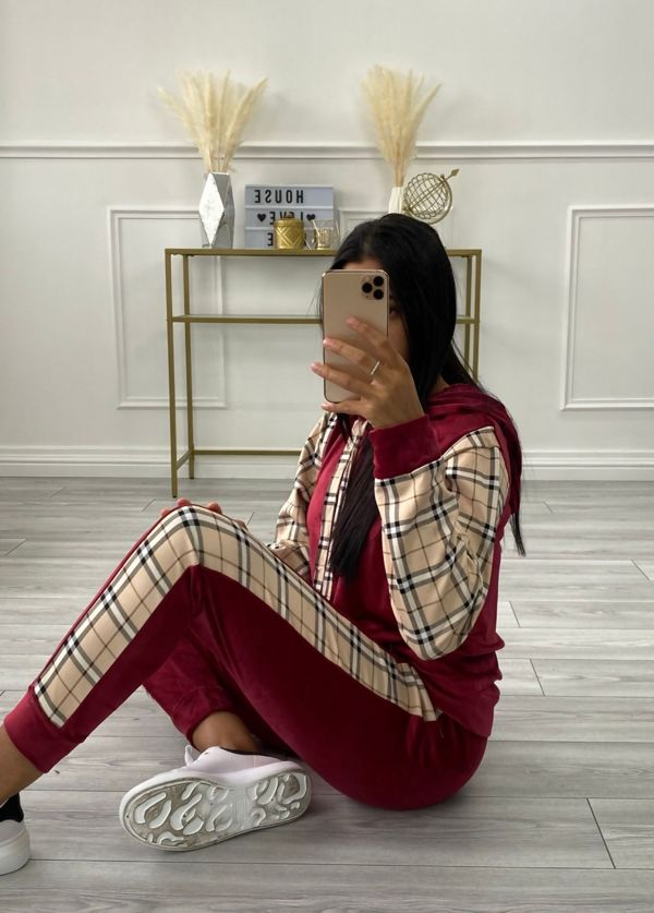 Burberry Check Velour Hooded Lounge set