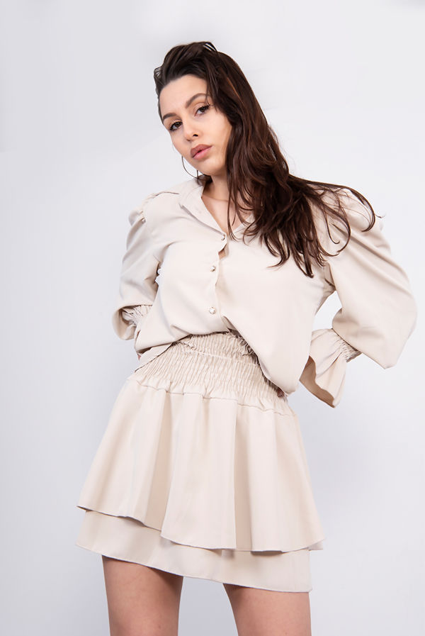 Shirred Blouse And Tiered Ruffle Skirt Co-Ord
