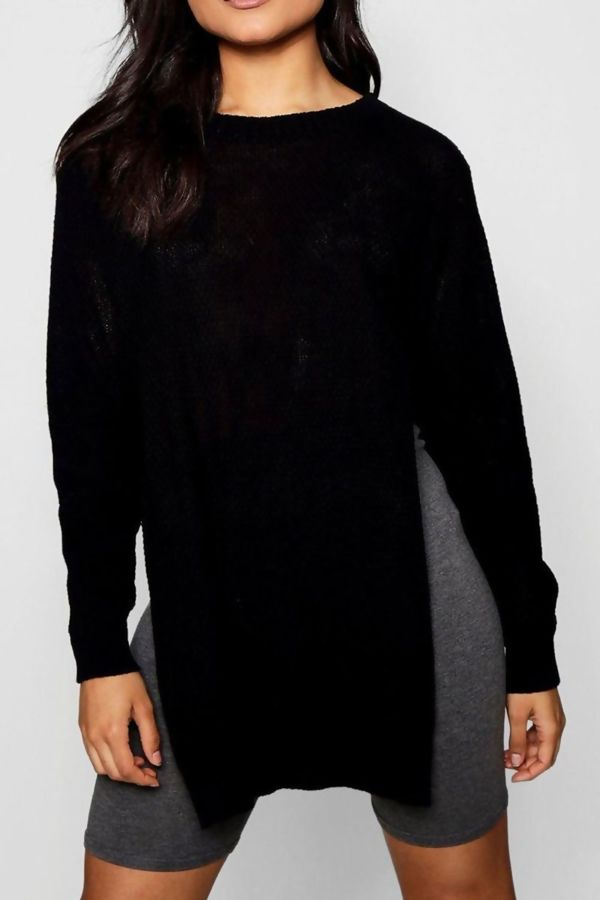 Side Split Moss Charcoal Knitted Jumper