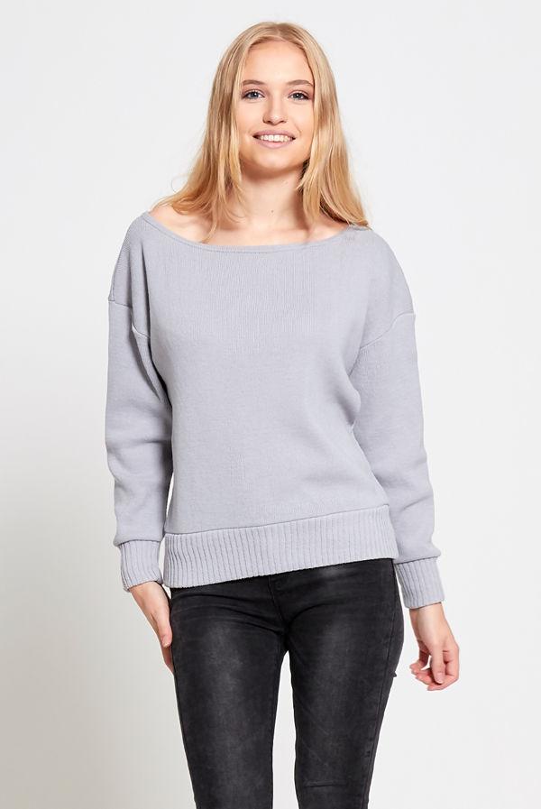 Silver Cuffed Hem Knitted Jumper
