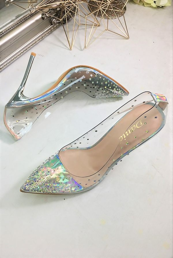 Silver Embellished Perspex Court Heels