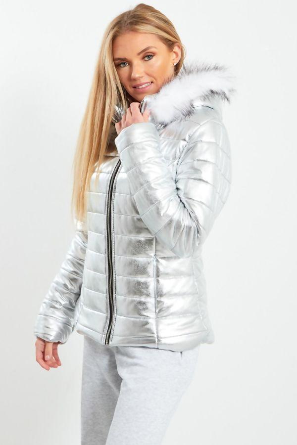 Silver Fur Hood Jacket