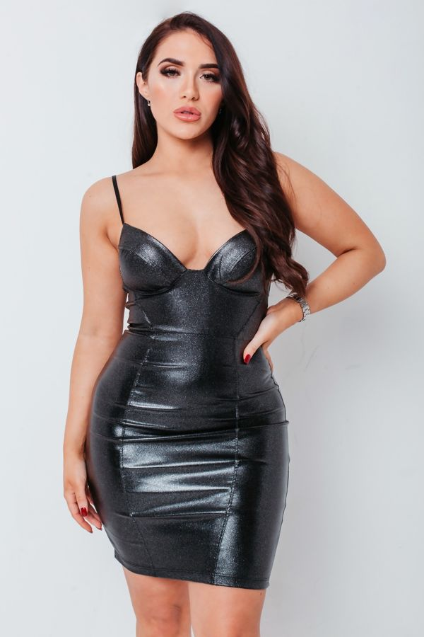 Silver Glitter PU Bralet Bodycon Mini Dress