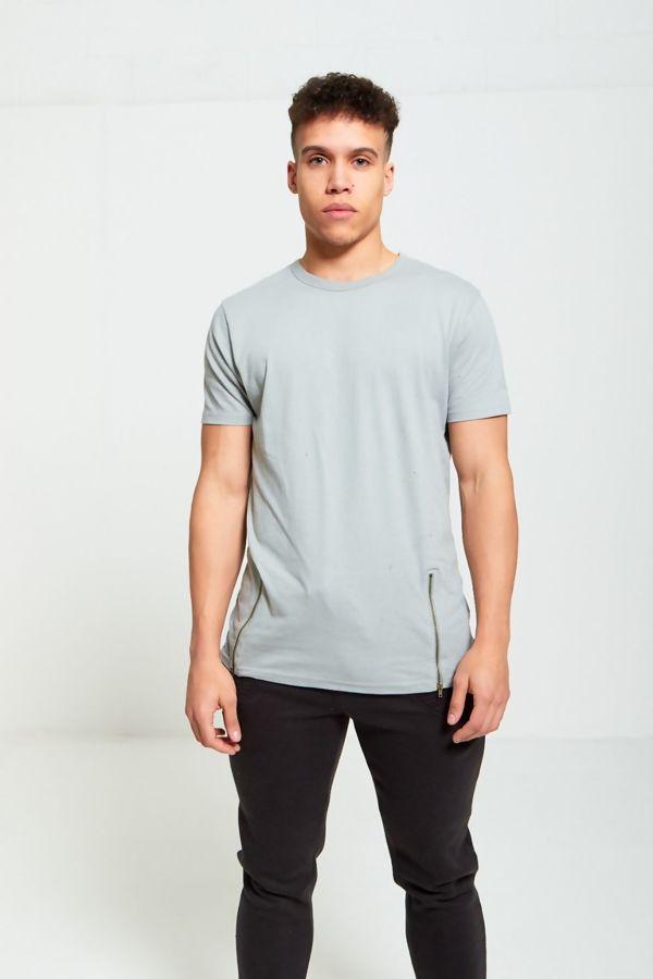 Silver Longline Zipper T-Shirt