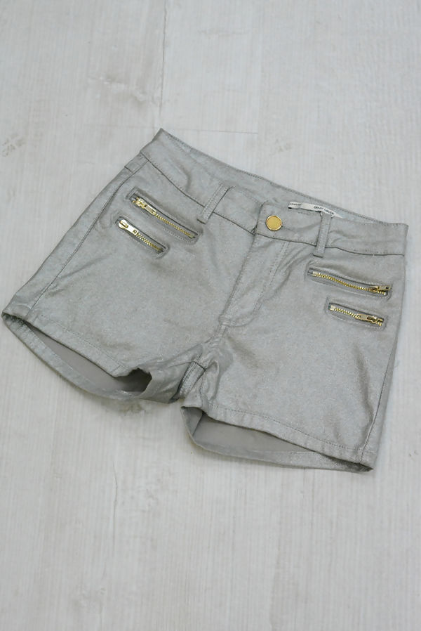Silver Zip Front PU Shorts