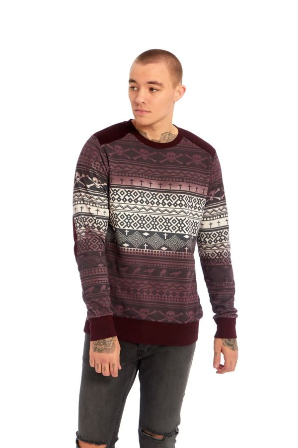 Skull Pattern Wine Sweatshirt