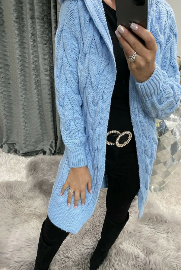 Sky Blue Cable Knit Hood Cardigan