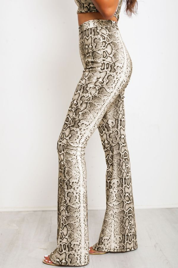 Snake Print Crop Top Trouser Set