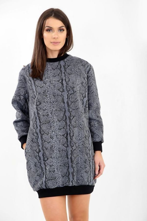 Snake Print Oversized Pocket Sweat Dress