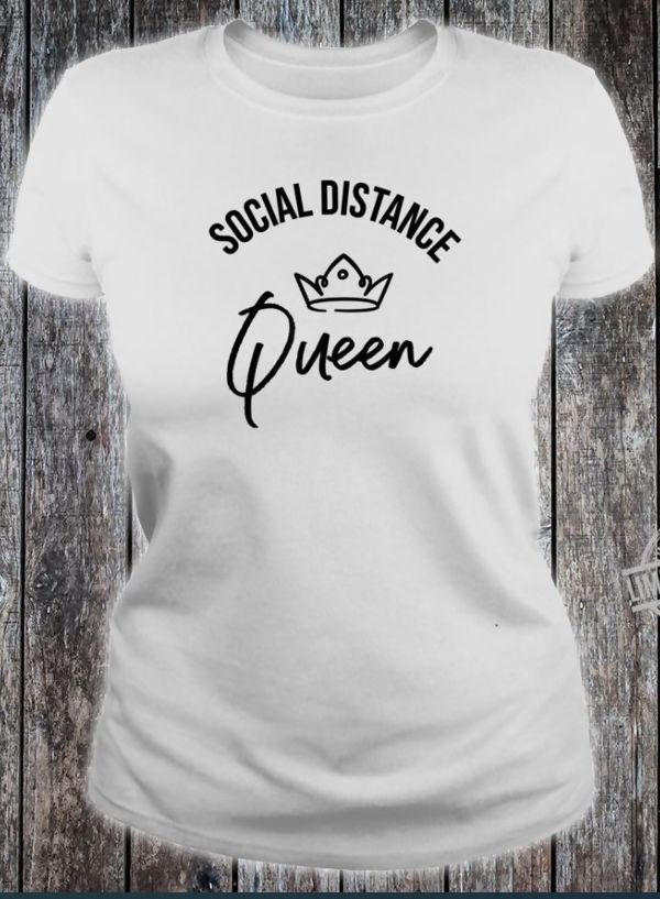 White Social Distance Queen Slogan Tee