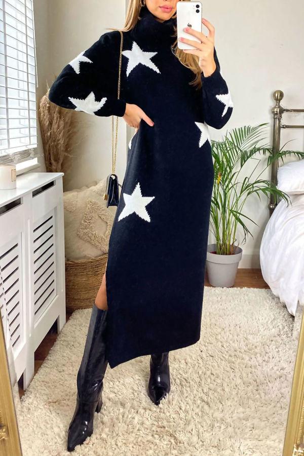Star Print Roll Neck Midi Jumper Dress