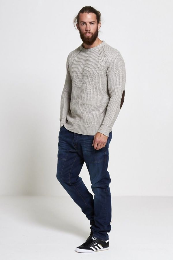 Stone Cable Knit Patchwork Jumper
