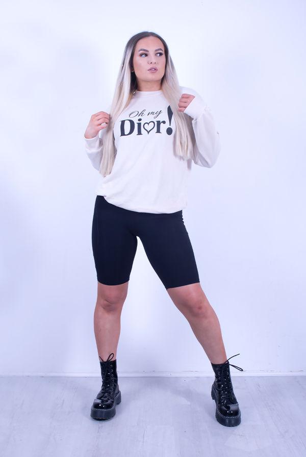 Stone Dior! Slogan Loop Back Jumper