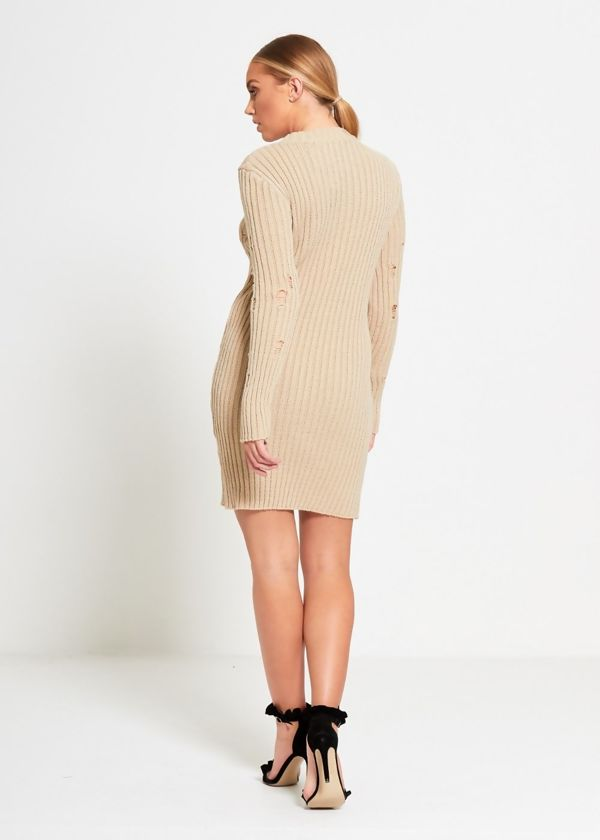 Stone Distressed Knitted Dress