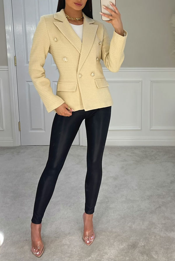 Stone Double Breasted Tweed Blazer