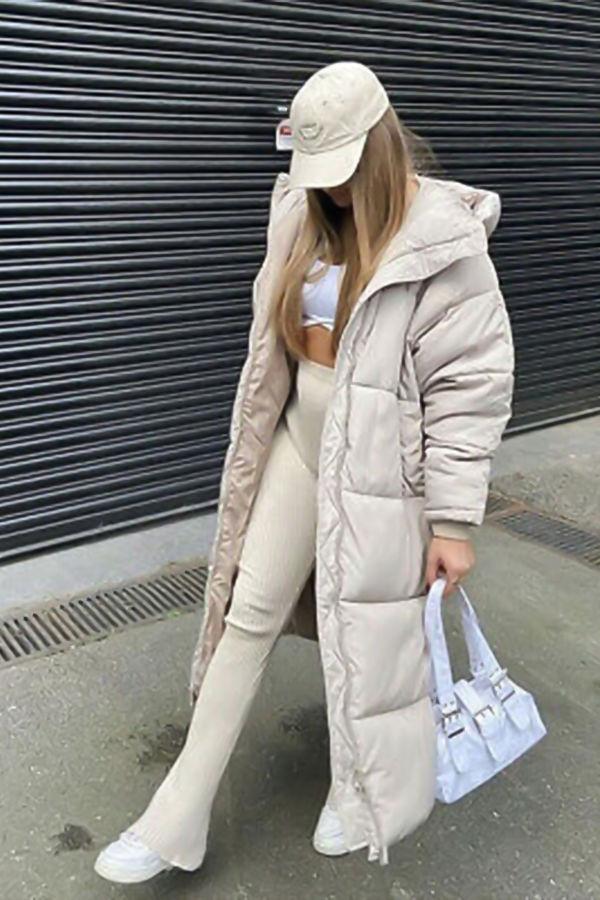 Black Longline Hooded Padded Coat