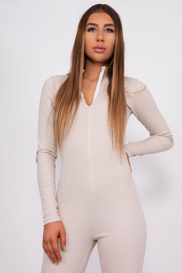 Stone Ribbed High Neck Zip Front Jumpsuit