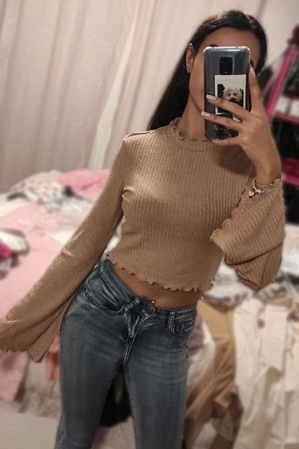 Stone Ribbed Lettuce Trim Flare Sleeve Top