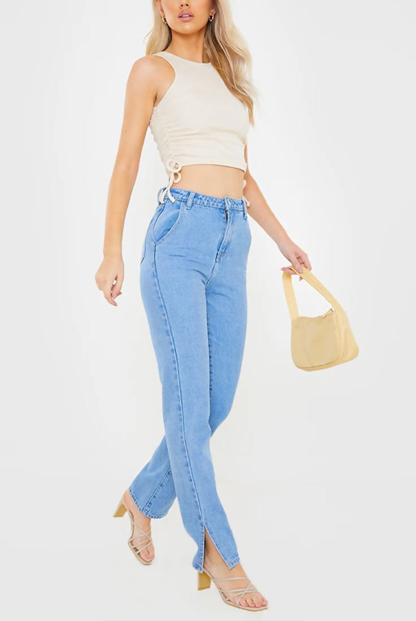 Stone Ribbed Ruched Side Crop Top