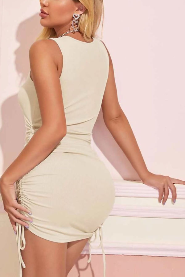 Stone Ribbed Side Ruched Drawstring Bodycon Dress