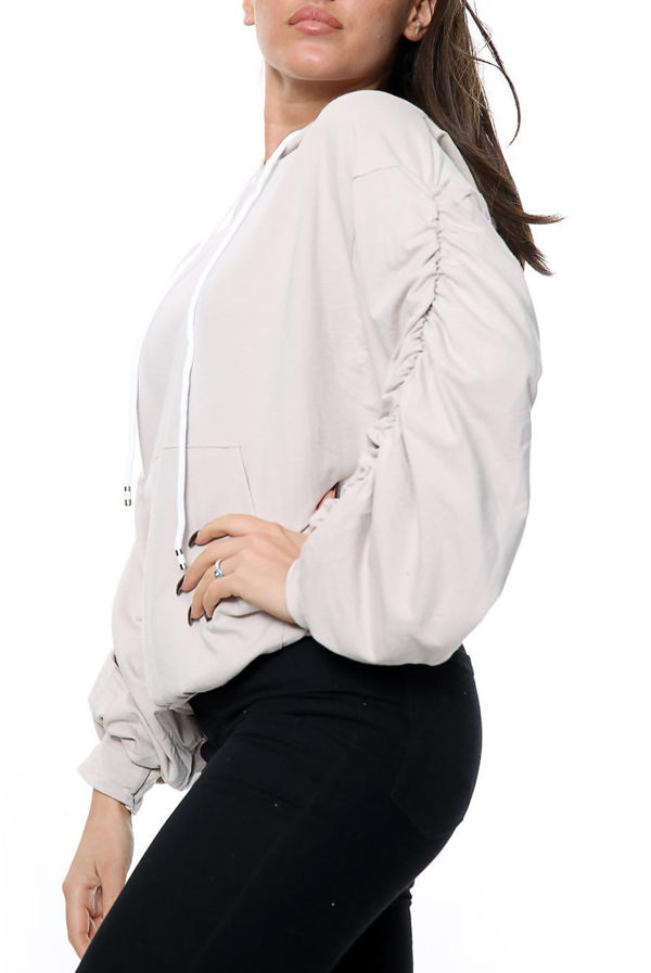 Stone Ruched Balloon Sleeve Hoodie