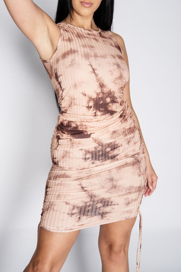 Stone Tie Dye Ruched Bodycon Dress