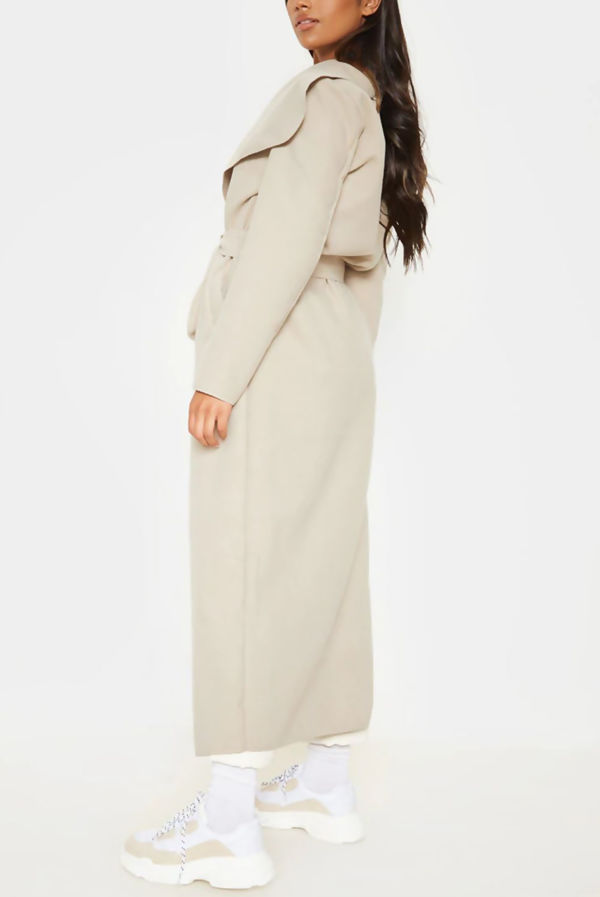 Stone Waterfall Drapped Duster Maxi Coat