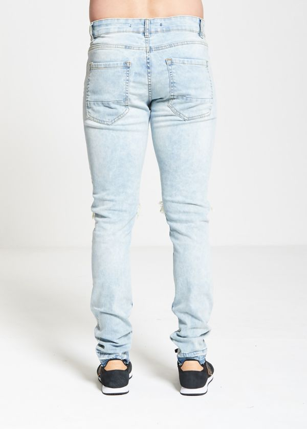 Stonewashed Open Knee Skinny Jeans