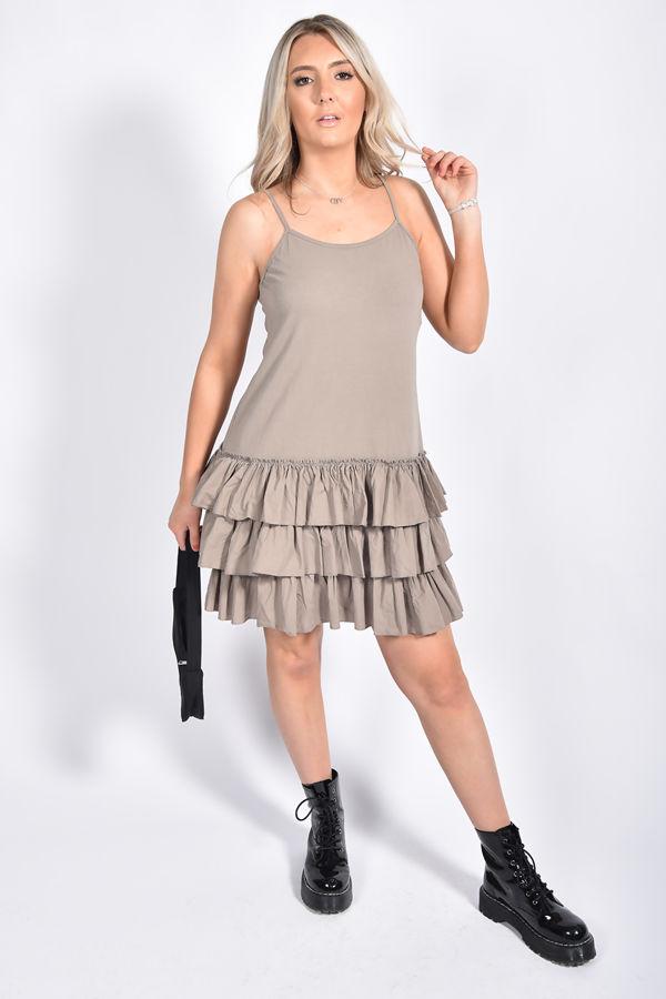 Strappy Layered Flute Hem Mini Dress