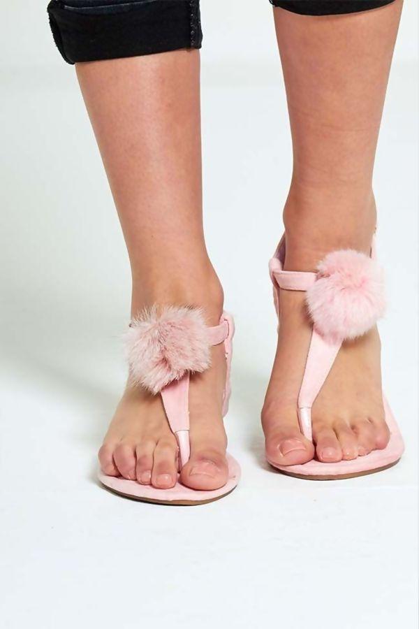 Suede Flat Faux Far PomPom Sandals