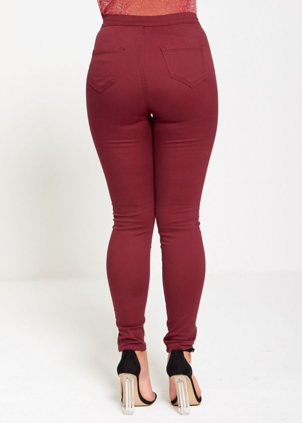 Super Skinny High Waisted Wine Jeans