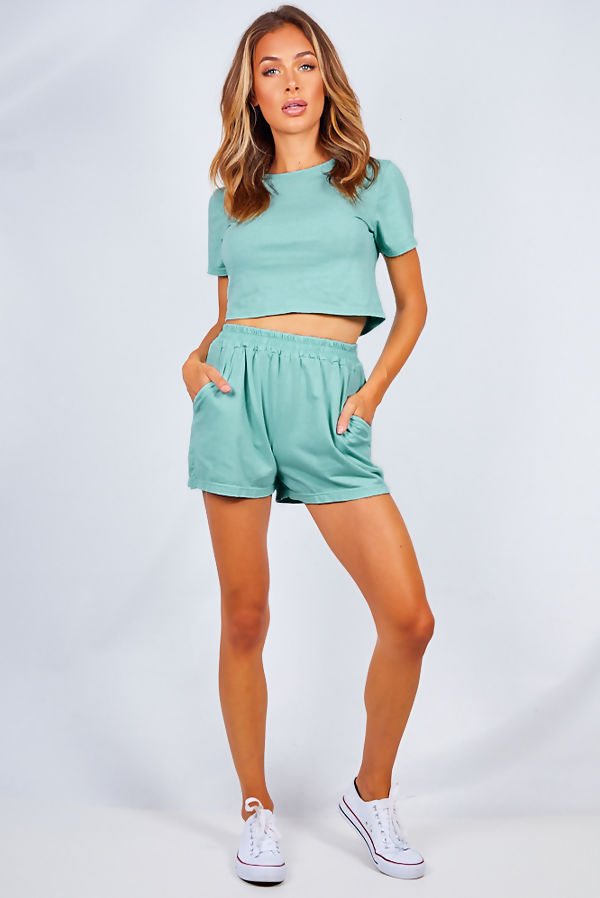 Sage Basic Shorts And Crop Top Lounge Set