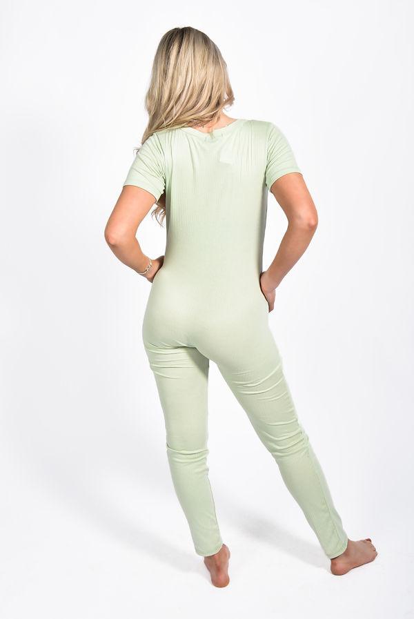 Sage Rib Button Up Short Sleeve Jumpsuit
