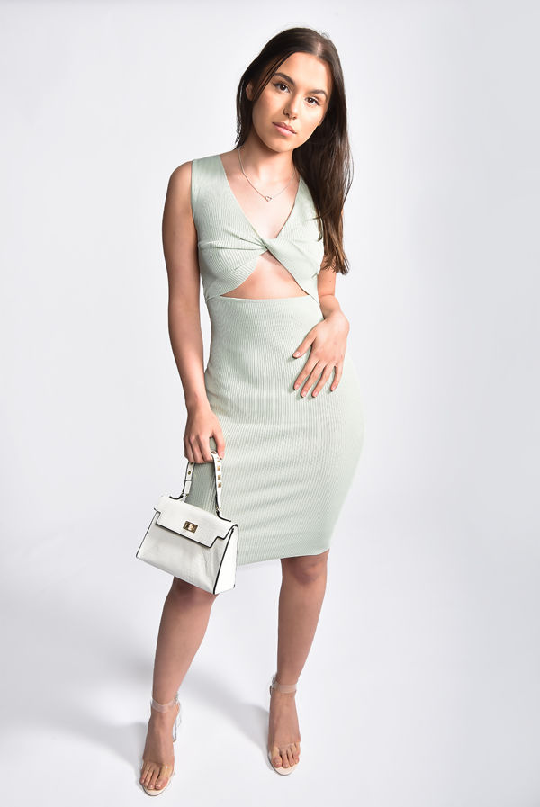 Sage Ribbed Cut Out Twist Front Dress