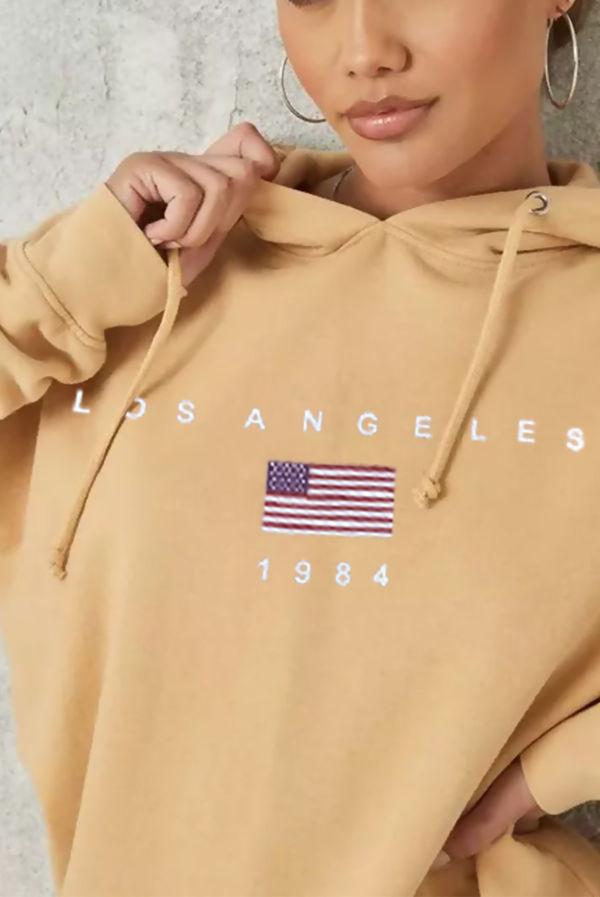 Sand Los Angeles Oversized Fleece Hoodie