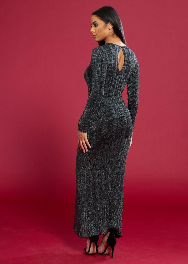 Silver Glitter Knit Long Sleeve Maxi Dress